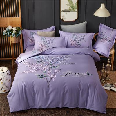 全棉21支加厚生态磨毛四件套 纯棉加厚新中国式风大版印花 1.5m(5英尺)床 浅忆澜珊-深紫
