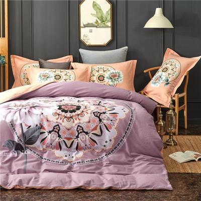 全棉21支加厚生态磨毛四件套 纯棉加厚新中国式风大版印花 1.5m(5英尺)床 时光魅影-紫