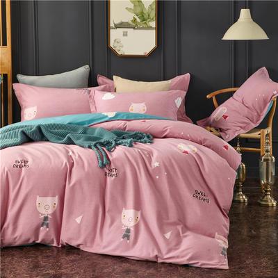 全棉21支加厚生态磨毛四件套 纯棉加厚新中国式风大版印花 1.8m(6英尺)床 甜美的梦-粉