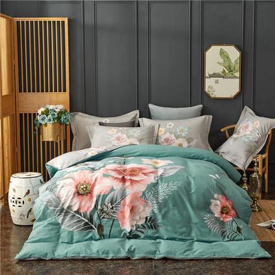 全棉21支加厚生态磨毛四件套 纯棉加厚新中国式风大版印花 1.8m(6英尺)床 溢彩风情-蓝