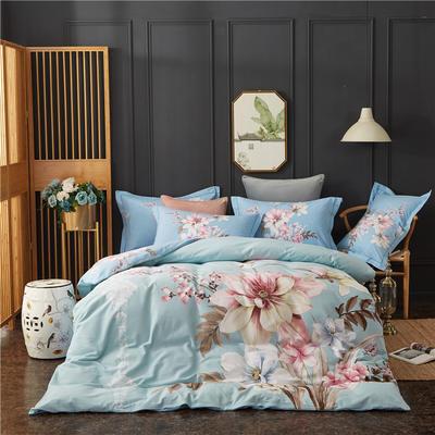 全棉21支加厚生态磨毛四件套 纯棉加厚新中国式风大版印花 1.5m(5英尺)床 凡尘花语-蓝