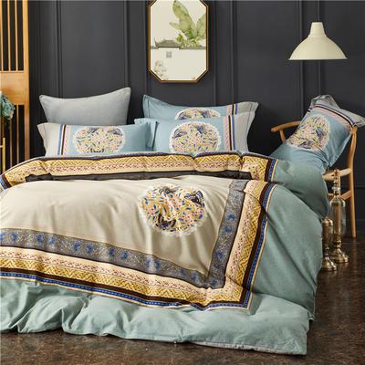 全棉21支加厚生态磨毛四件套 纯棉加厚新中国式风大版印花 1.8m(6英尺)床 琉璃年华-蓝
