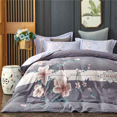 全棉21支加厚生态磨毛四件套 纯棉加厚新中国式风大版印花 1.8m(6英尺)床 夜雨微澜-灰