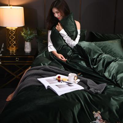 意大利绒保暖四件套绣花刺绣水晶牛奶法莱绒四件套 标准(适用被芯200x230) F1翡翠绿