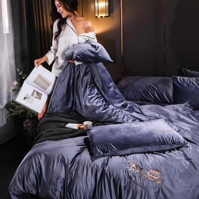 意大利绒保暖四件套绣花刺绣水晶牛奶法莱绒四件套 标准(适用被芯200x230) F5水晶蓝