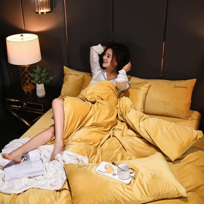 意大利绒保暖四件套绣花刺绣水晶牛奶法莱绒四件套 标准(适用被芯200x230) F6太妃黄