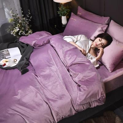 意大利绒保暖四件套绣花刺绣水晶牛奶法莱绒四件套 标准(适用被芯200x230) F7温馨紫