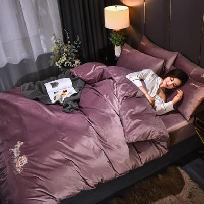 意大利绒保暖四件套绣花刺绣水晶牛奶法莱绒四件套 标准(适用被芯200x230) F8胭脂紫