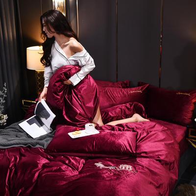 意大利绒保暖四件套绣花刺绣水晶牛奶法莱绒四件套 标准(适用被芯200x230) F10醉酒红