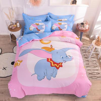 全棉大版卡通四件套 纯棉学生儿童公主小清新三件套床单床笠 小号床单款 小飞象