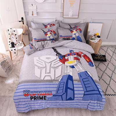 全棉大版卡通四件套 纯棉学生儿童公主小清新三件套床单床笠 1.8米床笠款 炫酷变形