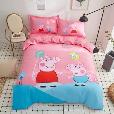 全棉大版卡通四件套 纯棉学生儿童公主小清新三件套床单床笠 小号床单款 A开心佩奇
