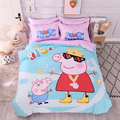 全棉大版卡通四件套 纯棉学生儿童公主小清新三件套床单床笠 小号床单款 A阳光佩奇