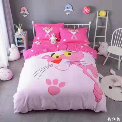 全棉大版卡通四件套 纯棉学生儿童公主小清新三件套床单床笠 1.8米床笠款 粉红豹