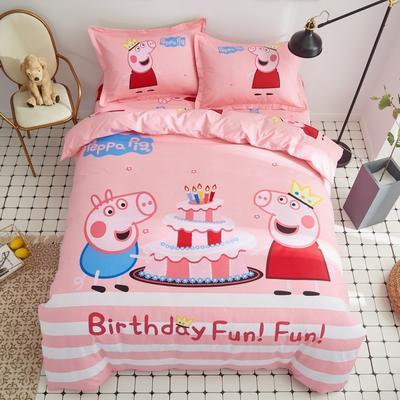 全棉大版卡通四件套 纯棉学生儿童公主小清新三件套床单床笠 1.5米床笠款 生日佩奇