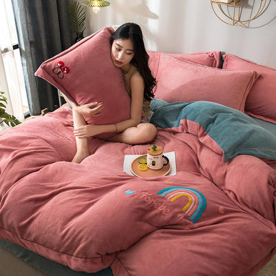 拼色牛奶绒毛巾绣系列 加厚保暖法莱绒水晶绒 1.8m(6英尺)床 麋鹿-深蓝