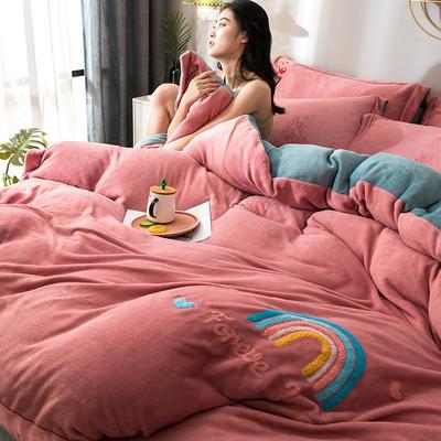 拼色牛奶绒毛巾绣系列 加厚保暖法莱绒水晶绒 1.8m(6英尺)床 彩虹-豆沙