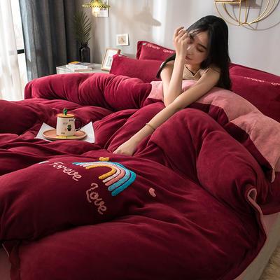 拼色牛奶绒毛巾绣系列 加厚保暖法莱绒水晶绒 1.8m(6英尺)床 彩虹-酒红