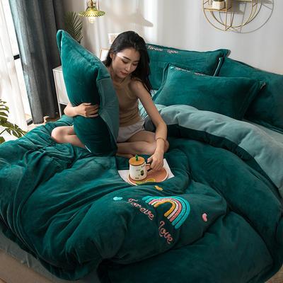 拼色牛奶绒毛巾绣系列 加厚保暖法莱绒水晶绒 2.2m(7英尺)床 彩虹-墨绿