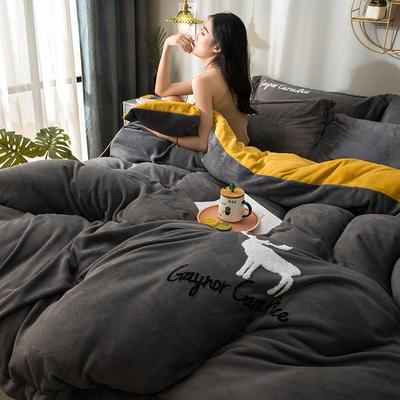 拼色牛奶绒毛巾绣系列 加厚保暖法莱绒水晶绒 1.8m(6英尺)床 麋鹿-灰