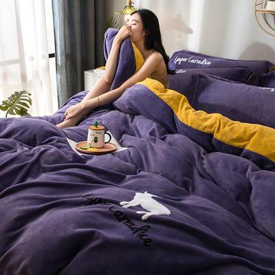 拼色牛奶绒毛巾绣系列 加厚保暖法莱绒水晶绒 1.8m(6英尺)床 麋鹿-紫