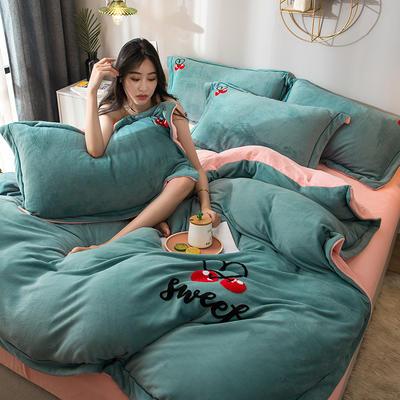 拼色牛奶绒毛巾绣系列 加厚保暖法莱绒水晶绒 1.8m(6英尺)床 樱桃-蓝