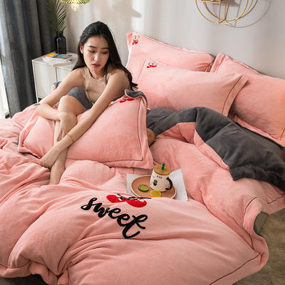 拼色牛奶绒毛巾绣系列 加厚保暖法莱绒水晶绒 1.8m(6英尺)床 樱桃-玉