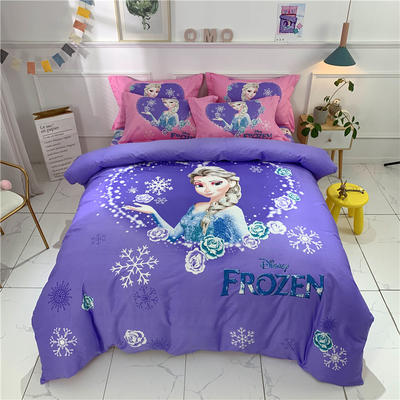 全棉大版卡通四件套 纯棉学生儿童公主小清新三件套床单床笠 小号床单款 冰雪之恋