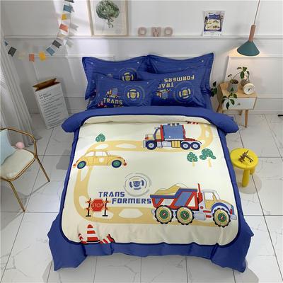 全棉大版卡通四件套 纯棉学生儿童公主小清新三件套床单床笠 小号床单款 汽车工程队