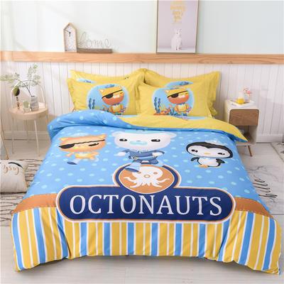 全棉大版卡通四件套 纯棉学生儿童公主小清新三件套床单床笠 1.8米床笠款 小纵队
