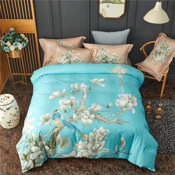 全棉新中式风大版花四件套  纯棉133*72匹马棉床单床笠中欧式花卉风格