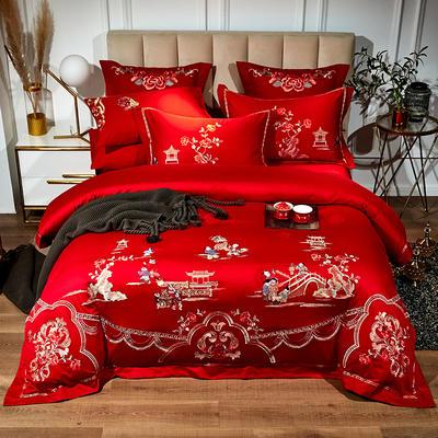 60支长绒棉婚庆系列 大红刺绣花结婚喜庆龙凤百子四件套多件套 标准床单款四件套(含包装) 百子情缘