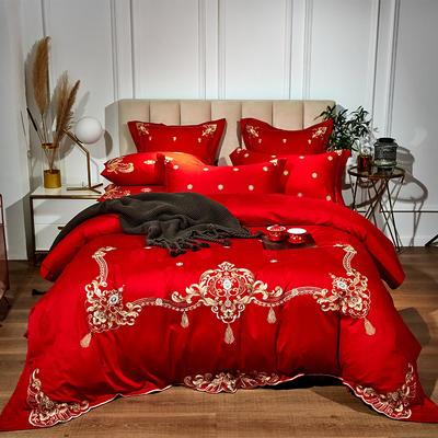 60支长绒棉婚庆系列 大红刺绣花结婚喜庆龙凤百子四件套多件套 标准床单款四件套(含包装) 贵族风范