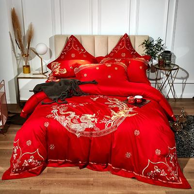 60支长绒棉婚庆系列 大红刺绣花结婚喜庆龙凤百子四件套多件套 标准床单款四件套(含包装) 金玉龙凤