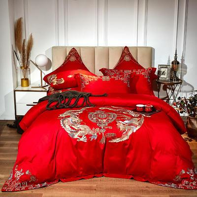 60支长绒棉婚庆系列 大红刺绣花结婚喜庆龙凤百子四件套多件套 标准床单款四件套(含包装) 龙凤相守