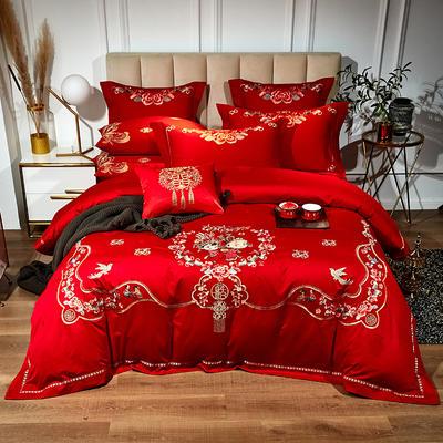 60支长绒棉婚庆系列 大红刺绣花结婚喜庆龙凤百子四件套多件套 标准床单款四件套(含包装) 甜甜蜜蜜