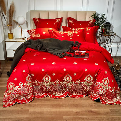 60支长绒棉婚庆系列 大红刺绣花结婚喜庆龙凤百子四件套多件套 标准床单款四件套(含包装) 遇见你