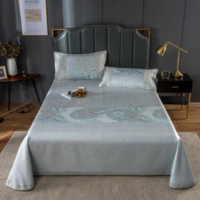 20新款 800D水洗冰丝席床单款 夏季可水洗干洗凉感冰丝凉席 250*250cm3件套 花间妮语