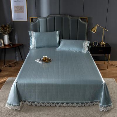 20新款 800D水洗冰丝席床单款 夏季可水洗干洗凉感冰丝凉席 250*250cm3件套 蓝灰