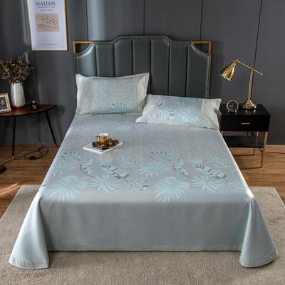 20新款 800D水洗冰丝席床单款 夏季可水洗干洗凉感冰丝凉席 250*250cm3件套 绿色心情
