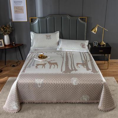 20新款 800D水洗冰丝席床单款 夏季可水洗干洗凉感冰丝凉席 250*250cm3件套 魔幻森林银金