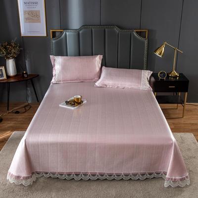 20新款 800D水洗冰丝席床单款 夏季可水洗干洗凉感冰丝凉席 250*250cm3件套 新粉