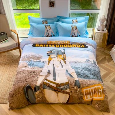 全棉大版卡通四件套 纯棉学生儿童公主小清新三件套床单床笠 小号床单款 和平战士