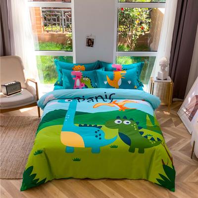 全棉大版卡通四件套 纯棉学生儿童公主小清新三件套床单床笠 小号床单款 恐龙家族