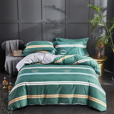 60S长绒棉印花四件套 60支贡缎全棉印花大版花系列 标准号(适用200x230被套) 都市情怀-绿