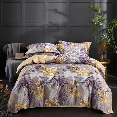 60S长绒棉印花四件套 60支贡缎全棉印花大版花系列 标准号(适用200x230被套) 秋色幽梦-紫