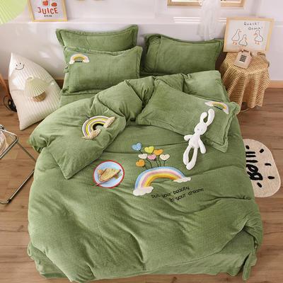 2020新款-保暖双面牛奶绒毛巾绣系列四件套 床单款四件套1.5m(5英尺)床 彩虹乐园-果绿