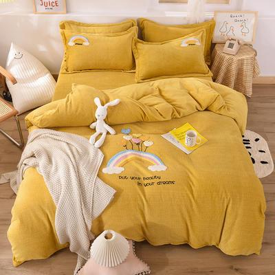 2020新款-保暖双面牛奶绒毛巾绣系列四件套 床单款四件套1.5m(5英尺)床 彩虹乐园-暖黄