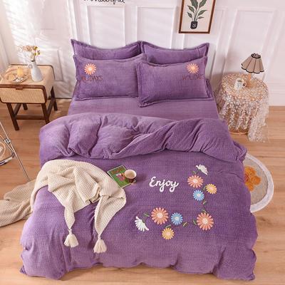 2020新款-保暖双面牛奶绒毛巾绣系列四件套 床单款四件套1.5m(5英尺)床 花开朵朵-梦幻紫