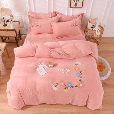 2020新款-保暖双面牛奶绒毛巾绣系列四件套 床单款四件套1.5m(5英尺)床 花开朵朵-玉色